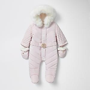 Roze gewatteerd RI sneeuwpak met voeten voor baby's