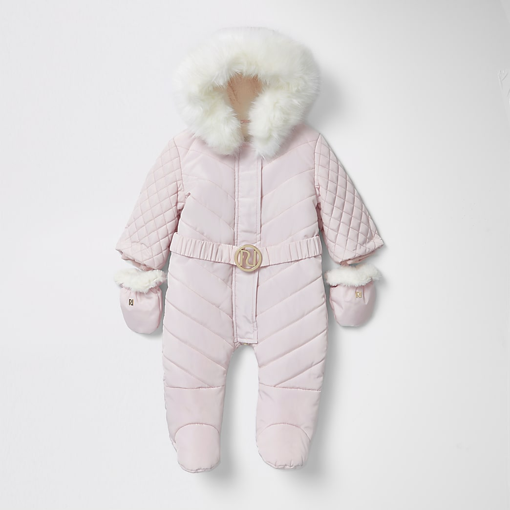 Baby pink RI padded snowsuit with feet