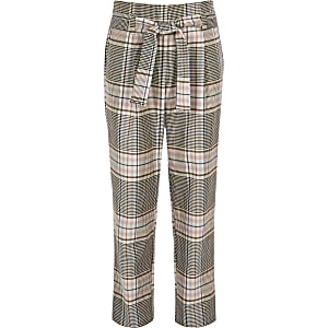 Girls pink check tie waist trousers