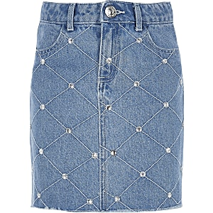 Girls blue diamante denim skirt