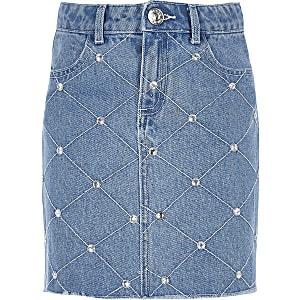 Blauwe denim rok met diamantjes voor meisjes