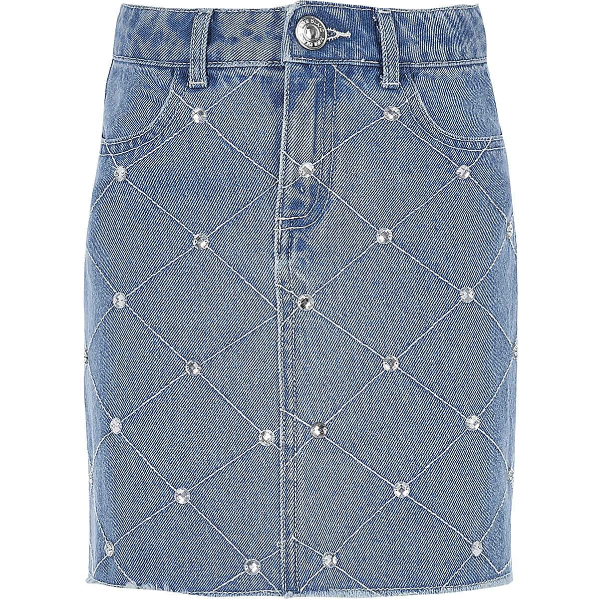 Girls blue diamante denim skirt
