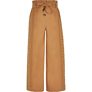 Girls broiderie wide leg trousers