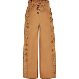 Pantalon large à broderie anglaise pour fille