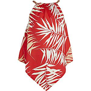 Caraco imprimé palmier rouge façon mouchoir pour fille