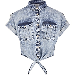 Girls tie front acid denim shirt