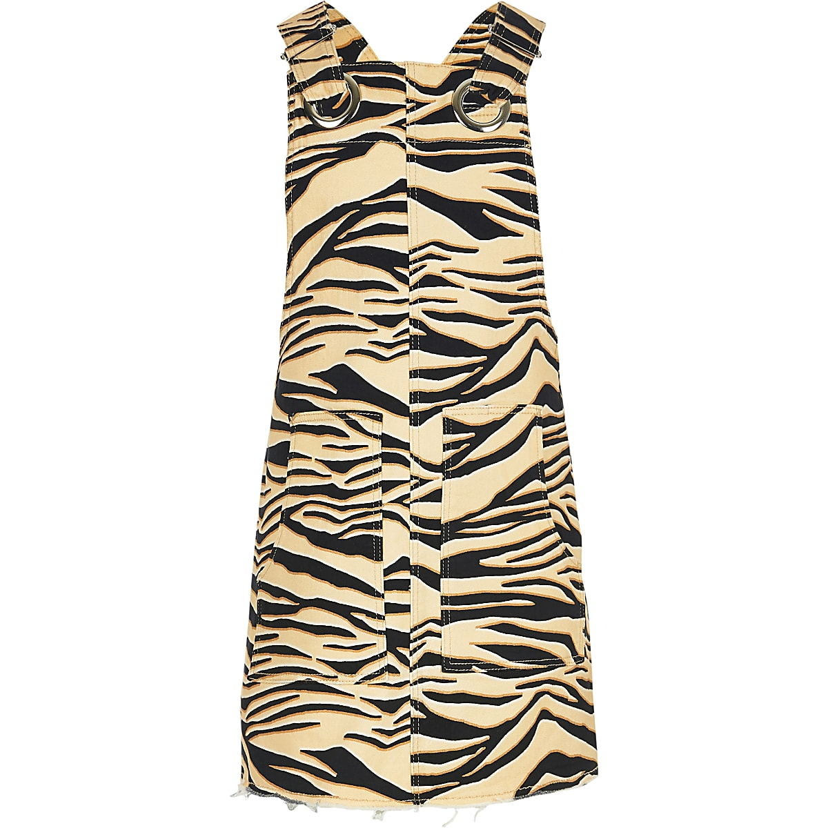 Girls brown zebra print denim pinafore dress