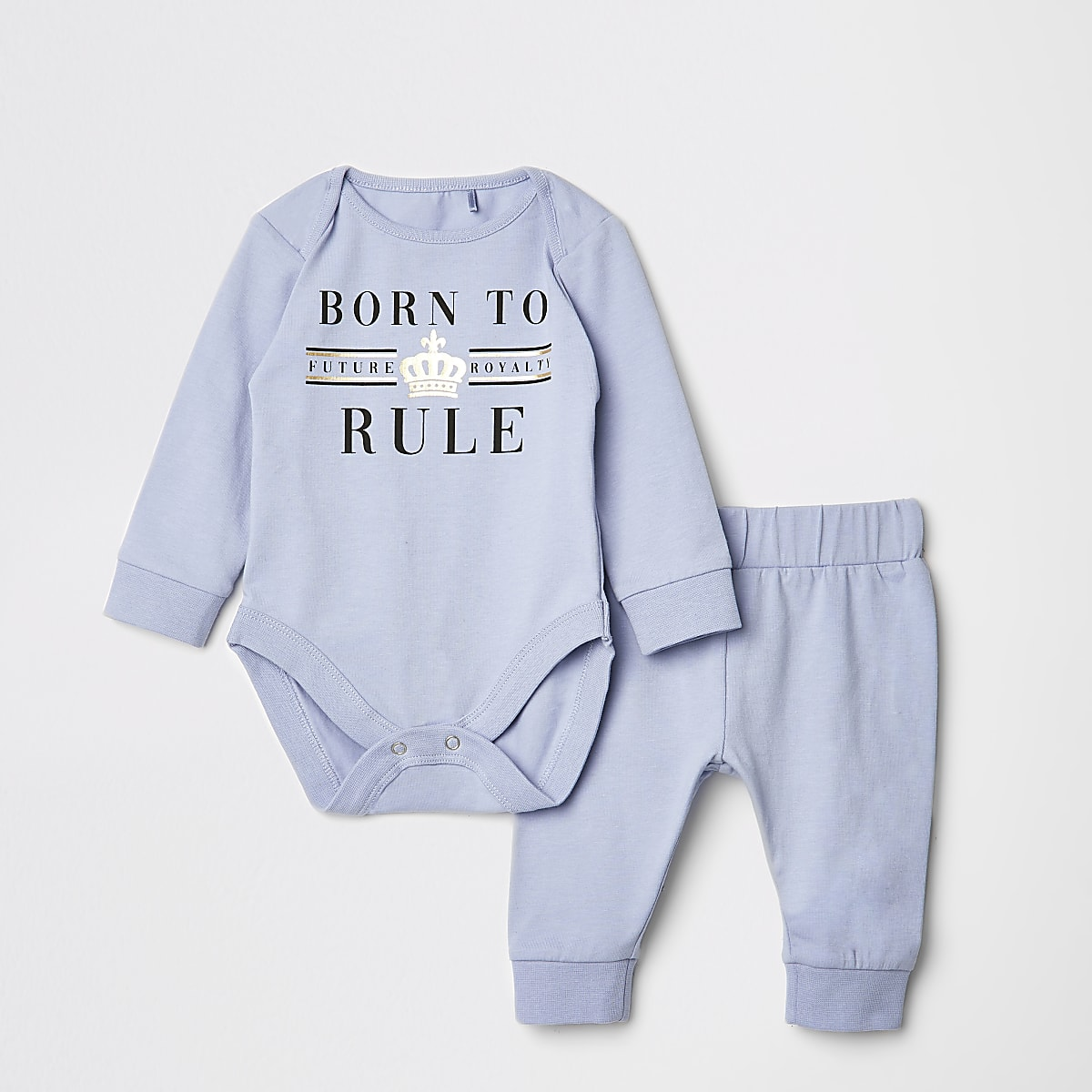 Baby blue 'Born to rule' baby grow