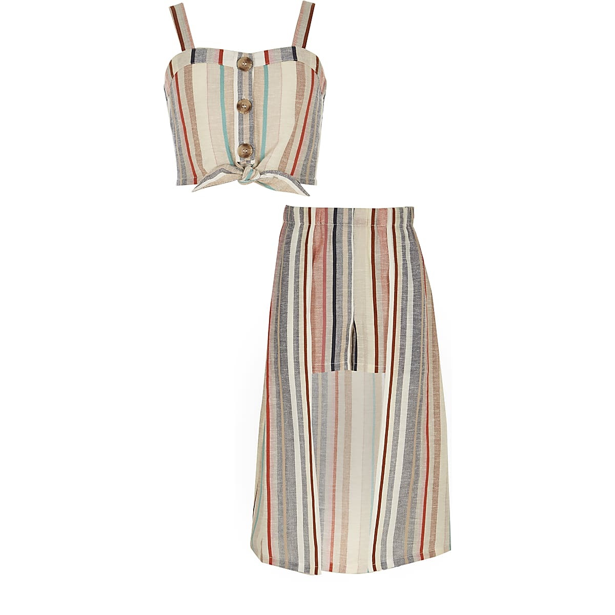 Girls pink stripe crop top and skort outfit