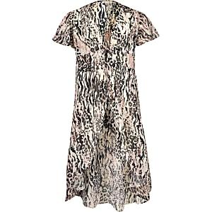 Kimono imprimé léopard rose pour fille