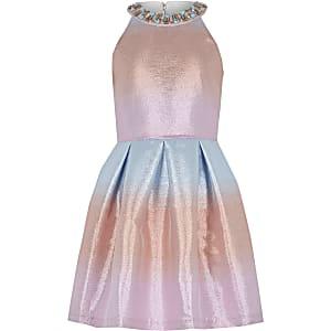 Robe de gala rose métallisé effet dégradé pour fille