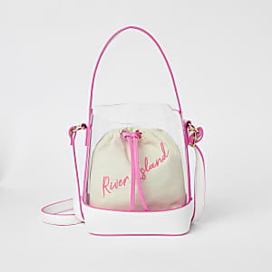 Girls neon pink perspex duffle bag