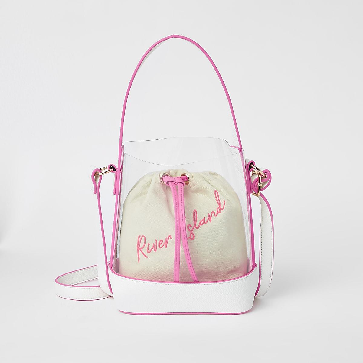Girls neon pink perspex duffle bag
