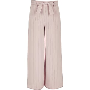 Girls pink stripe tie waist trousers