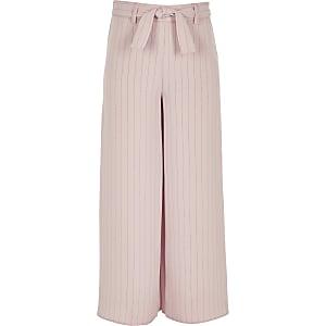 Roze gestreepte broek met strikceintuur voor meisjes
