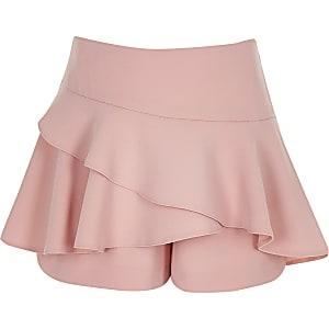 Jupe-culotte rose à volant pour fille
