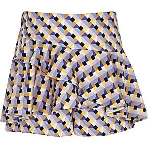 Jupe-culotte imprimé géométrique bleue à volant pour fille