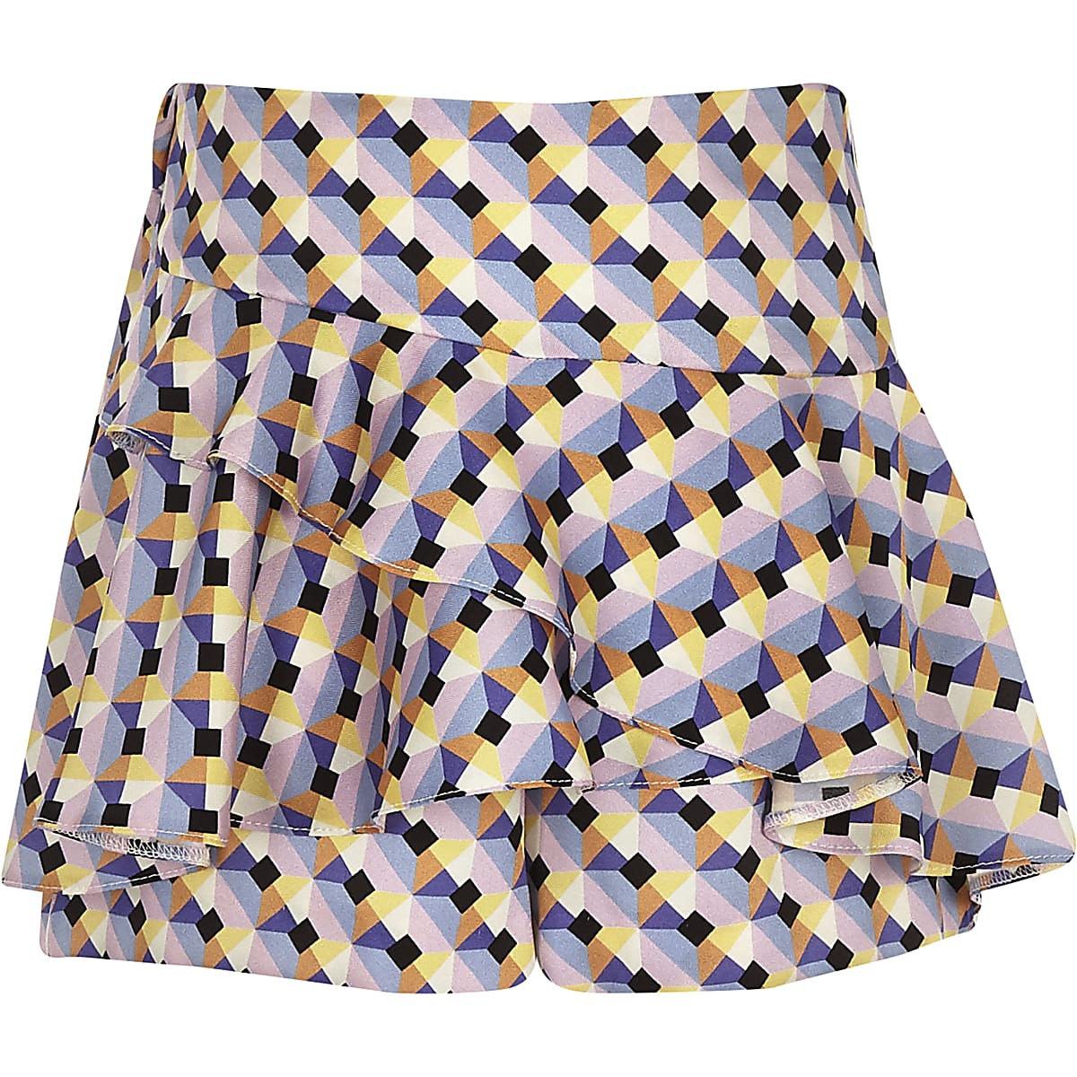 Girls blue geo print frill skort