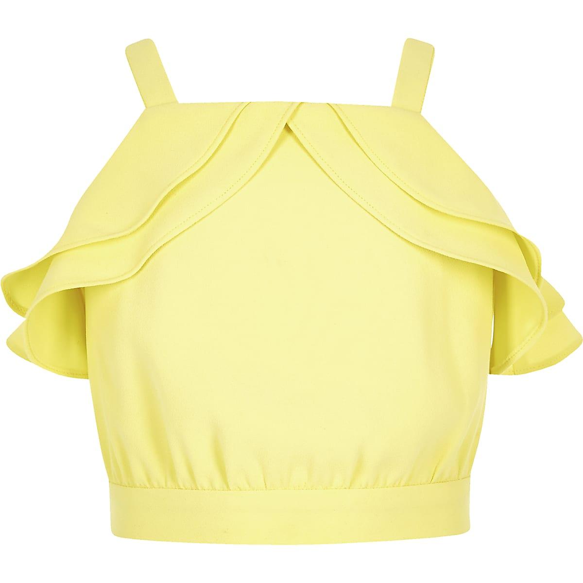 Girls yellow frill top