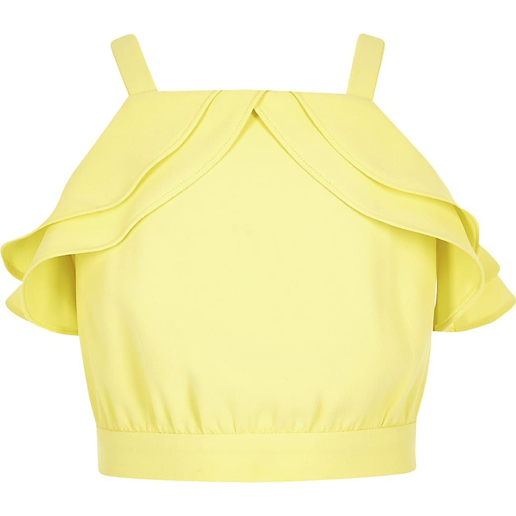 Girls yellow frill top