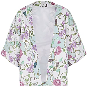 Bedruckter Kimono in Creme