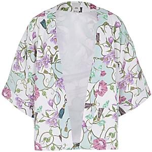 Girls cream print kimono