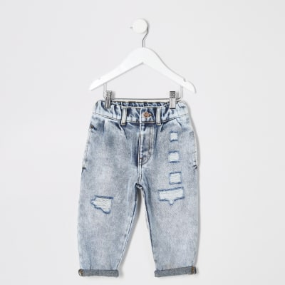 Mini Girls Light Blue Mom Acid Ripped Jeans by River Island