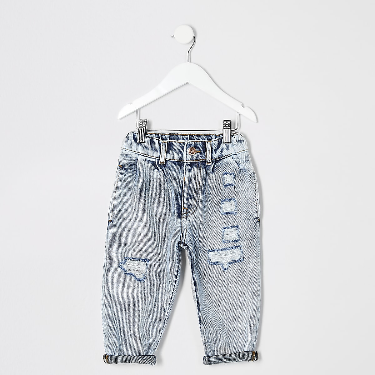 Mini girls light blue Mom acid ripped jeans