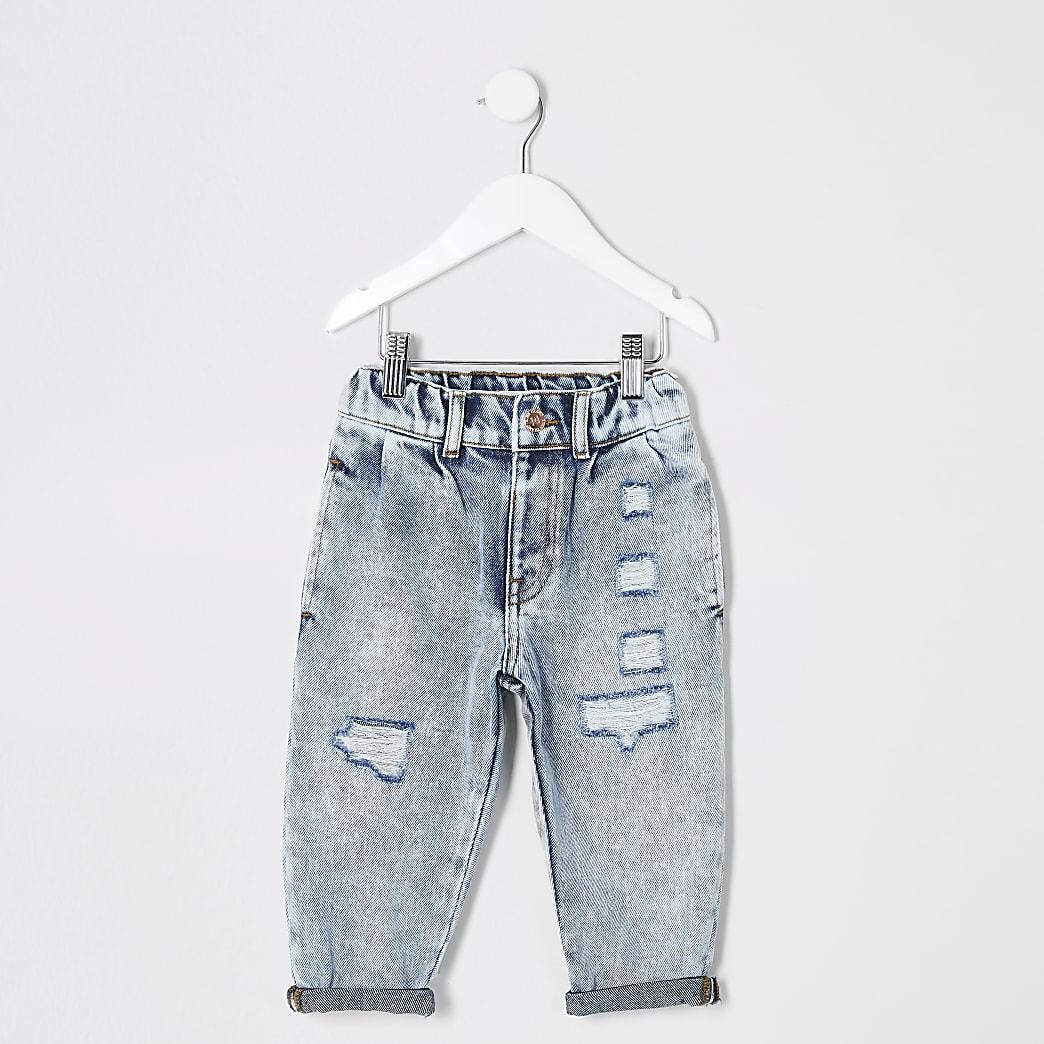 Mini girls light blue Mom acid ripped jeans