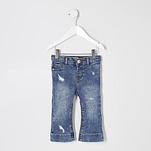Jean large bleu déchiré pour mini fille
