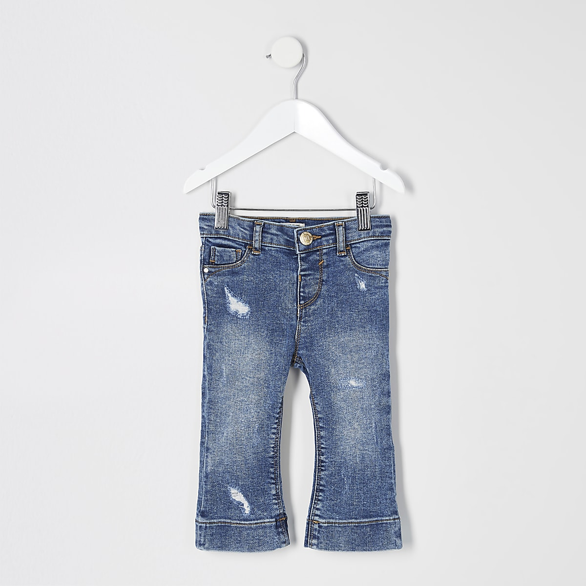 Mini girls blue ripped flare jeans