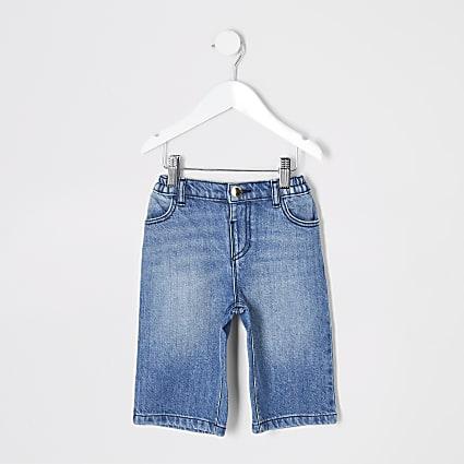Mini girls blue wide leg jeans
