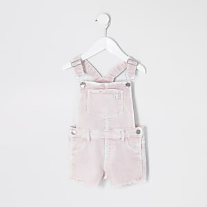Mini girls pink overalls