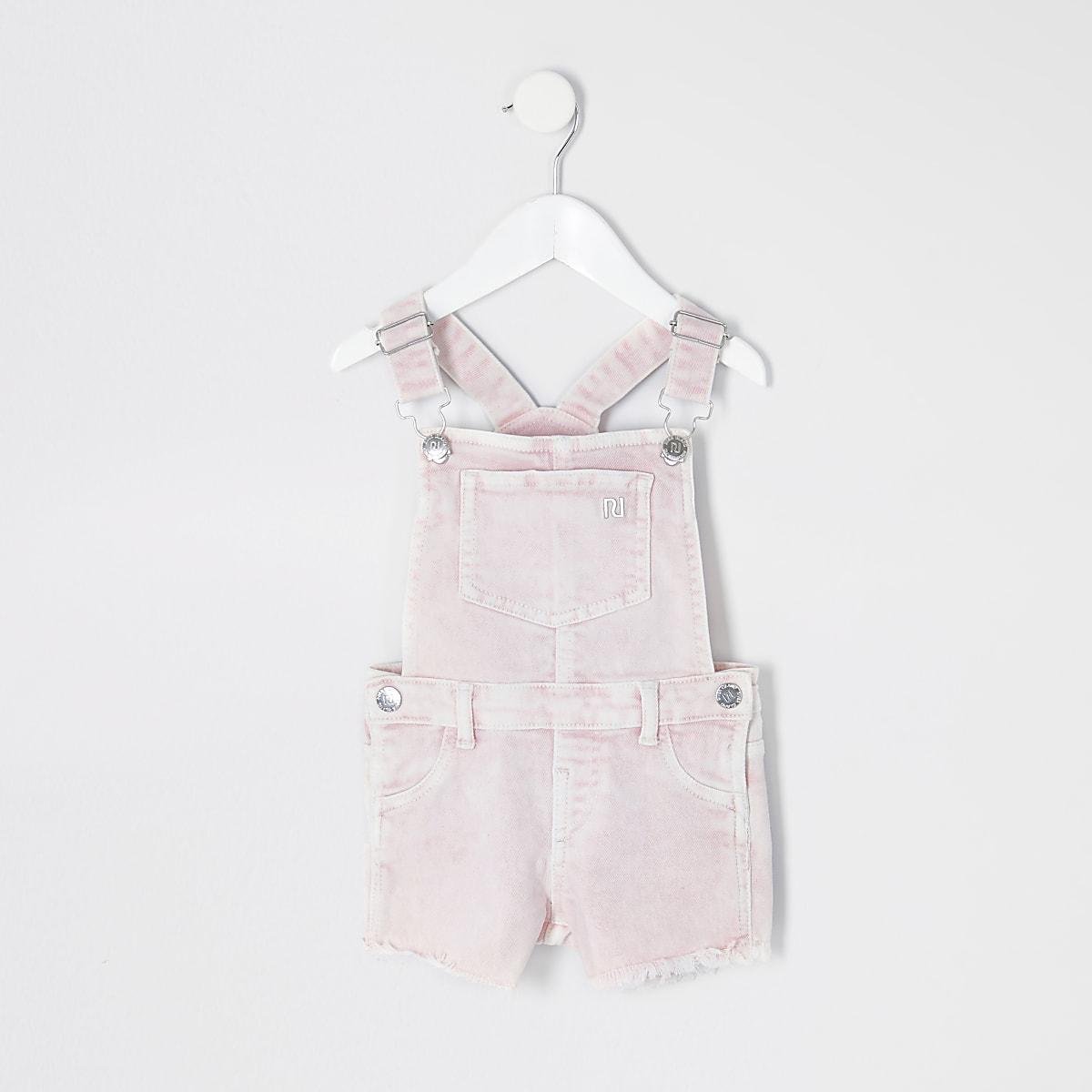 Mini girls pink overalls