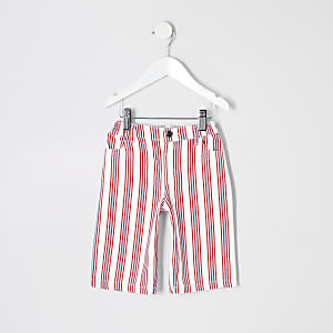 Mini girls red stripe wide leg jeans
