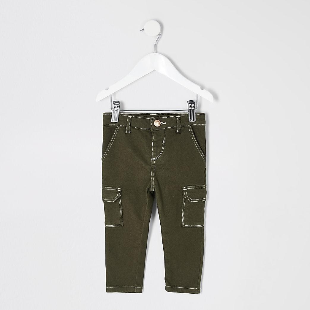 Amelie - Mini - Kaki skinny utility jeans voor meisjes