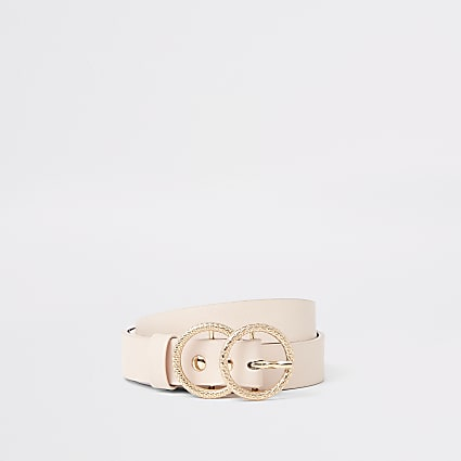Girls light pink double ring jeans belt