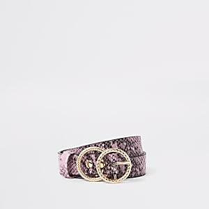 Ceinture imprimé serpent rose à deux anneaux pour fille