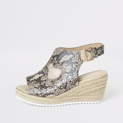 Girls brown snake print espdarille wedges