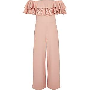 Pinker Bardot-Overall mit Rüschen