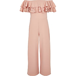 Roze jumpsuit in bardotstijl met ruches en kant voor meisjes