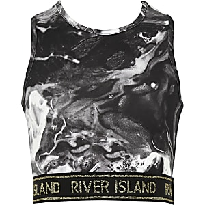 Girls RI Active black marble crop top