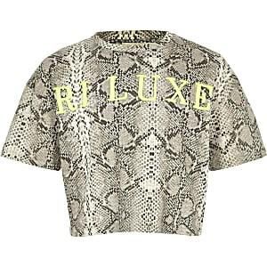 RI Active - Grijs T-shirt met slangenprint voor meisjes