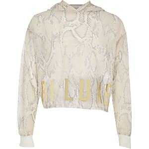 RI Active - Witte hoodie met slangenprint en mesh voor meisjes