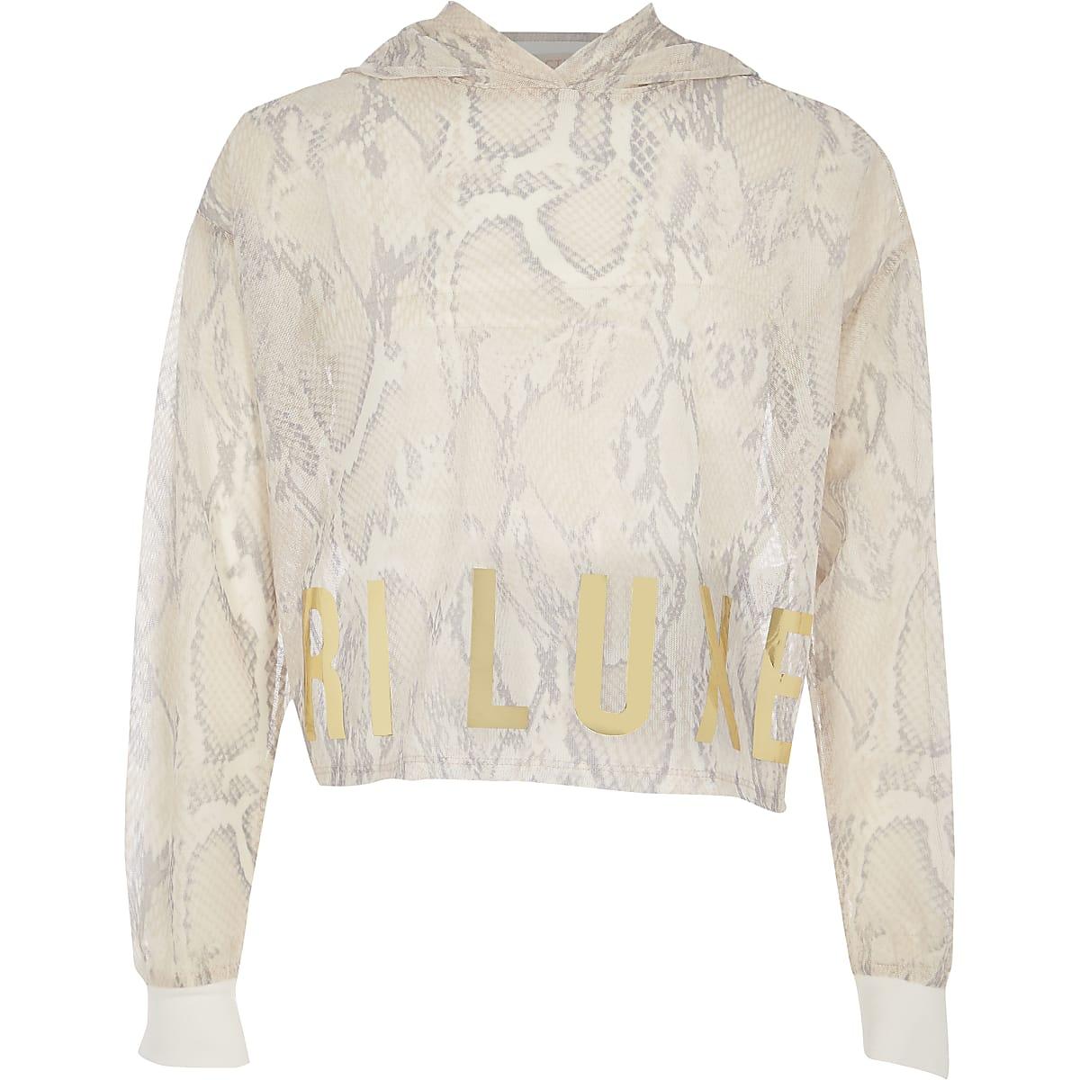 Girls RI Active white snake mesh hoodie