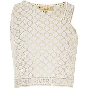 Girls RI Active beige monogram crop top