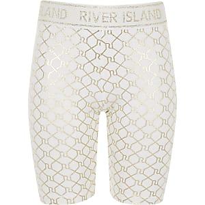 Weiße Rad-Shorts mit Monogramm
