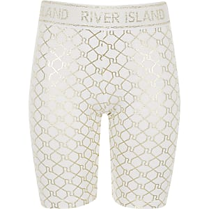 Girls white RI Active monogram cycle shorts