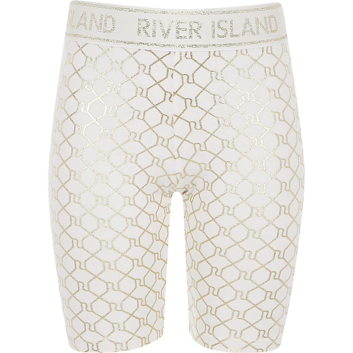 Girls white RI Active monogram cycle shorts