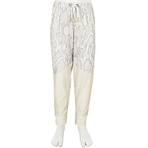 Girls RI Active white snake print joggers